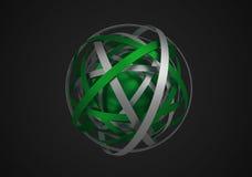 Rappresentazione astratta 3D della sfera con gli anelli Fotografie Stock