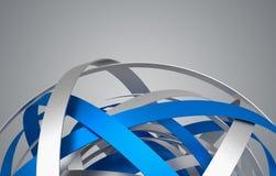 Rappresentazione astratta 3D della sfera con gli anelli Fotografia Stock