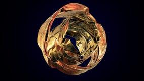 Rappresentazione astratta 3d della sfera con gli anelli dorati nello spazio vuoto Forma futuristica illustrazione 3D Immagine Stock