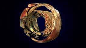 Rappresentazione astratta 3d della sfera con gli anelli dorati nello spazio vuoto Forma futuristica illustrazione 3D Fotografie Stock