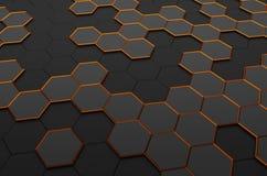 Rappresentazione astratta 3D della superficie con gli esagoni Immagine Stock Libera da Diritti