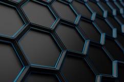 Rappresentazione astratta 3D della superficie con gli esagoni Immagine Stock