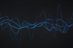 Rappresentazione astratta 3D delle linee ondulate lucide Immagini Stock Libere da Diritti