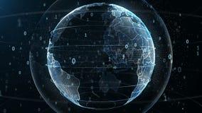Rappresentazione astratta 3d di una rete di trasmissione di dati delle tecnologie scientifiche che circondano il pianeta Terra royalty illustrazione gratis