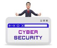 Rappresentazione astuta professionale dello schermo 3d di sicurezza cyber illustrazione di stock