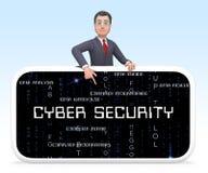 Rappresentazione astuta professionale dello schermo 3d di sicurezza cyber royalty illustrazione gratis