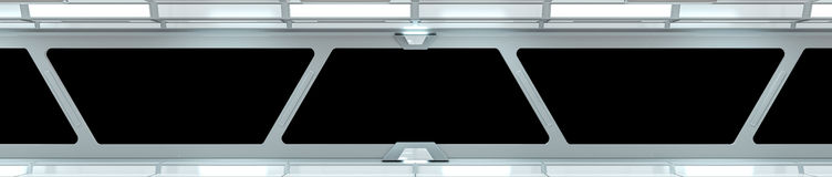 Rappresentazione bianca del corridoio 3D dell'astronave Fotografia Stock
