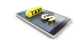 Rappresentazione bianca dell'illustrazione del fondo del simbolo di dollaro di Smartphone del taxi immagine stock libera da diritti