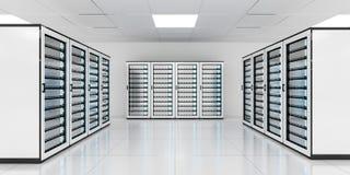 Rappresentazione bianca di stoccaggio 3D del centro dati della stanza del server Fotografie Stock Libere da Diritti