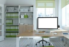 Rappresentazione bianca moderna di interior design 3d del Ministero degli Interni Fotografie Stock