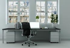 Rappresentazione bianca moderna di interior design 3d del Ministero degli Interni Immagini Stock