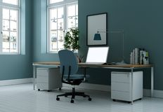 Rappresentazione blu moderna di interior design 3d del Ministero degli Interni Immagine Stock Libera da Diritti