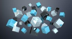 Rappresentazione brillante blu di galleggiamento della rete 3D del cubo Immagini Stock