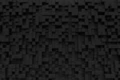 Rappresentazione casuale di pandom 3d del pixel del fondo del cubo nero della piccola scatola Fotografia Stock