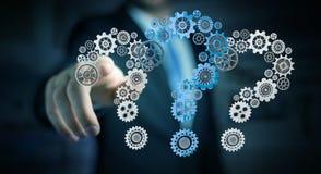 Rappresentazione commovente dell'ingranaggio 3D dei punti interrogativi dell'uomo d'affari Immagine Stock