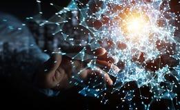Rappresentazione commovente della connessione di rete 3D di volo dell'uomo d'affari Immagine Stock