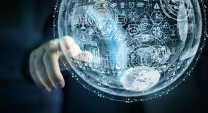 Rappresentazione commovente della sfera 3D dell'ologramma dell'uomo d'affari Fotografie Stock