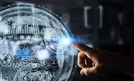 Rappresentazione commovente della sfera 3D dell'ologramma dell'uomo d'affari Immagine Stock