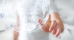 Rappresentazione commovente della sfera 3D dell'ologramma dell'uomo d'affari Immagini Stock Libere da Diritti