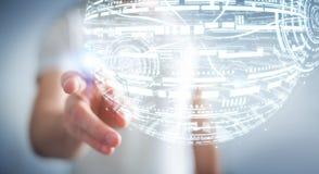 Rappresentazione commovente della sfera 3D dell'ologramma dell'uomo d'affari Fotografie Stock Libere da Diritti