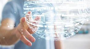 Rappresentazione commovente della sfera 3D dell'ologramma dell'uomo d'affari Immagini Stock