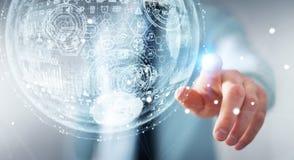 Rappresentazione commovente della sfera 3D dell'ologramma dell'uomo d'affari Immagine Stock Libera da Diritti