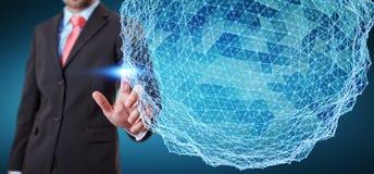 Rappresentazione commovente della sfera 3D della rete di volo dell'uomo d'affari Fotografia Stock
