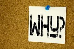 Rappresentazione concettuale di ispirazione di titolo del testo di scrittura della mano perché domanda Concetto di affari per chi Fotografia Stock