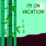 Rappresentazione concettuale I m. On Vacation di scrittura della mano Foto di affari che montra rottura dal viaggio stressante di illustrazione di stock