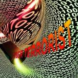 Rappresentazione cyber di Extremism Hacking Alert 3d del terrorista Illustrazione Vettoriale