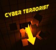 Rappresentazione cyber di Extremism Hacking Alert 3d del terrorista Illustrazione di Stock