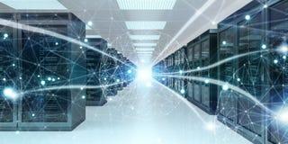Rappresentazione cyber di scambio concentrare di dati 3D della stanza del server Fotografia Stock Libera da Diritti