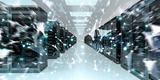Rappresentazione cyber di scambio concentrare di dati 3D della stanza del server Immagini Stock