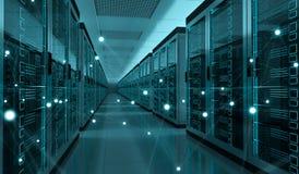 Rappresentazione cyber di scambio concentrare di dati 3D della stanza del server Fotografie Stock Libere da Diritti