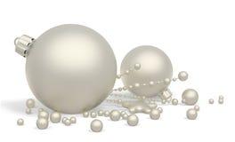 Rappresentazione d'argento del fondo 3d delle bagattelle di natale illustrazione di stock