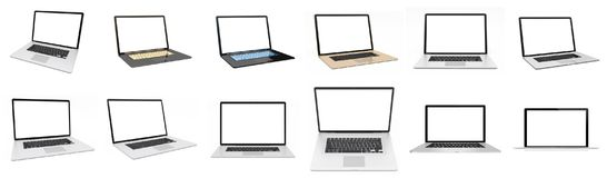 Rappresentazione d'argento digitale moderna del pacchetto 3D del computer portatile Immagini Stock