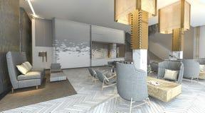 rappresentazione 3d bella ed ingresso dell'albergo di lusso con mobilia piacevole illustrazione vettoriale