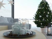rappresentazione 3d casa con il christmastree in appartamento moderno 1 avvenimento Immagine Stock