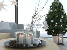 rappresentazione 3d casa con il christmastree in appartamento moderno 2 avvenimento Fotografia Stock