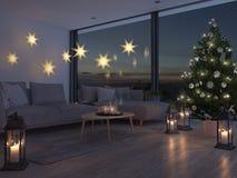 rappresentazione 3d casa con il christmastree in appartamento moderno 2 avvenimento Immagine Stock Libera da Diritti