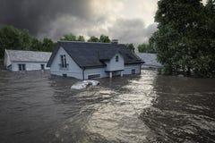 rappresentazione 3d case di inondazione Immagine Stock