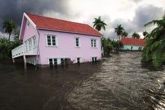 rappresentazione 3d case di inondazione Fotografie Stock Libere da Diritti