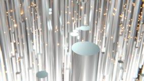 rappresentazione 3d dei cilindri metallici astratti con fare galleggiare i tizzoni arancio nel fondo e nel bokeh royalty illustrazione gratis