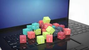 rappresentazione 3D dei cubi con i Domain Name Fotografia Stock Libera da Diritti