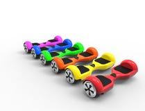 rappresentazione 3D dei hoverboards colorati luminosi multipli illustrazione di stock