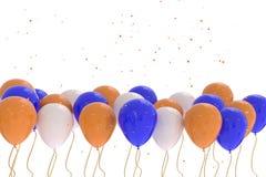 rappresentazione 3D dei palloni blu, arancio, bianchi su fondo bianco immagine stock