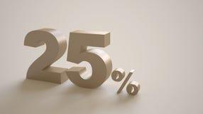 rappresentazione 3D dei 25 per cento Fotografia Stock Libera da Diritti