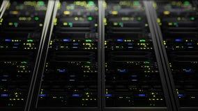 rappresentazione 3D dei server di dati con il LED infiammante Animazione ciclica dei server di dati Immagini Stock