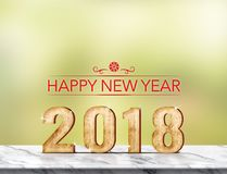 Rappresentazione 3d del buon anno 2018 sulla tavola di marmo a abst verde Fotografia Stock Libera da Diritti
