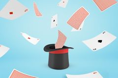 rappresentazione 3d del cappello del mago con le carte da gioco di volo su fondo blu-chiaro royalty illustrazione gratis